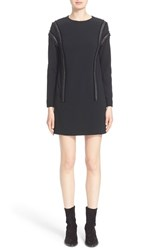 Women's Belstaff 'Hailey' Double Face Crepe Shift Dress With Leather Trim
