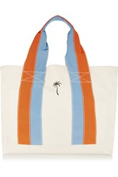 Tomas Maier Grosgrain Trimmed Canvas Tote White