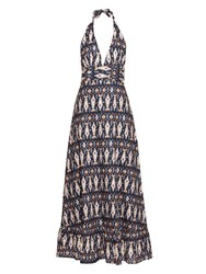 Figue Evie Ikat Print Halterneck Maxi Dress