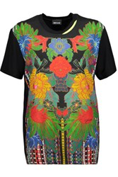 Just Cavalli Printed Crepe And Stretch Jersey T Shirt Black