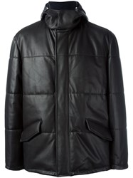 Kiton Leather Coat Black