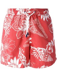 Etro Floral Swimming Shorts Red