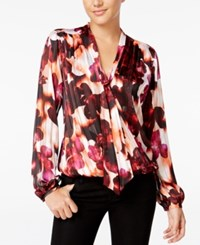 Guess Belissa Printed Tie Neck Blouse Floating Orchards Peach