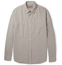 Nigel Cabourn Slim Fit Cotton And Linen Blend Shirt Stone