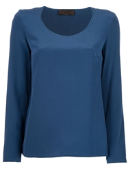 Jo No Fui Scoop Neck Blouse Blue
