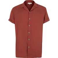 River Island Mens Red Revere Collar Short Sleeve Shirt