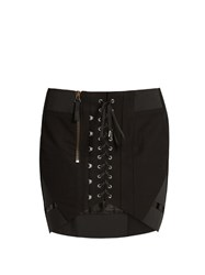 Anthony Vaccarello Corset Front Cotton Skirt Black