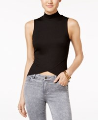Material Girl Juniors' Mock Turtleneck Asymmetrical Top Only At Macy's Caviar Black