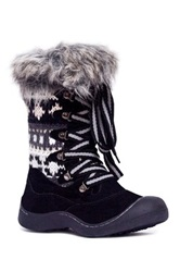 Muk Luks Gwen Short Lace Up Faux Shearling Lined Snow Boot Black