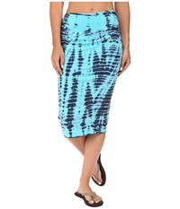 Hard Tail Sexy Shirred Pencil Skirt Alligator Cloud Wash 2 Women's Skirt Blue