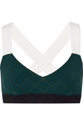 No Ka' Oi Ka'oi Ola Color Block Quilted Stretch Jersey Sports Bra Emerald