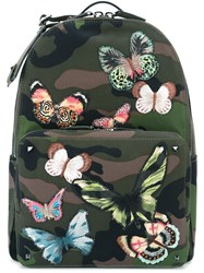 Valentino Garavani Embroidered Butterfly Backpack Green