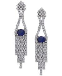 Nina Silver Tone Cubic Zirconia And Blue Stone Fringe Drop Earrings