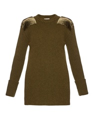 Hillier Bartley Military Contrast Patch Ribbed Knit Sweater