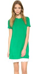 Clu Pullover Ruffle Dress Green White