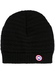 Canada Goose Logo Patch Beanie Hat Black