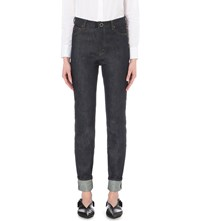Victoria Beckham Slim Fit Tapered High Rise Jeans Raw