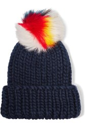 Eugenia Kim Rain Faux Fur Trimmed Wool Beanie Midnight Blue