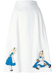 Olympia Le Tan Alice In Wonderland Patch Skirt White
