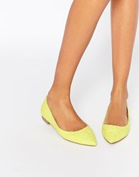Asos Lost Pointed Ballet Flats Yellow