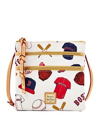 Dooney And Bourke Boston Red Sox Coated Cotton Triple Zip Crossbody Bag White