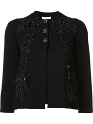 Marc Jacobs Floral Embroidered Cardigan Black