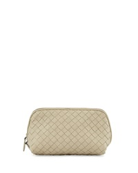 Bottega Veneta Medium Woven Cosmetics Bag Beige