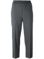 Brunello Cucinelli Side Stripe Cropped Trousers Grey