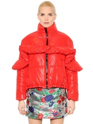 Msgm Quilted Ruffled Shining Nylon Jacket