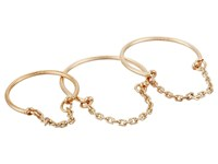 French Connection Delicate Band And Chain Detail Midi Ring Set Gold Ring