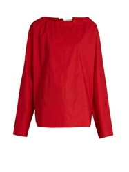 Marni Tie Back Coated Cotton Poplin Blouse Red