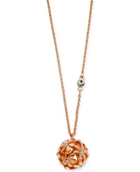 Guess Rose Gold Tone Floral Ball Pendant Necklace