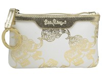 Lilly Pulitzer Key Id Case Gold Metallic Treasure Trunk Wallet White