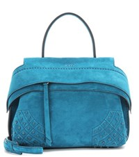 Tod's Wave Mini Suede Tote Turquoise