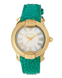 Escada Madelene Snake Embossed Three Hand Quartz Watch Teal