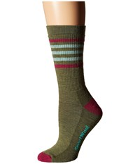 Smartwool Striped Hike Medium Crew Light Loden Berry Women's Crew Cut Socks Shoes Olive