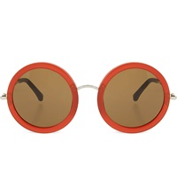 The Row Acetate Round Sunglasses Rust And Walnut