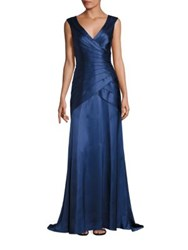 Kay Unger Tiered Wrap Gown Indigo