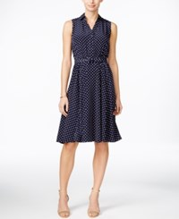 Charter Club Petite Polka Dot Shirtdress Only At Macy's Intrepid Blue Combo