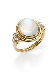 Temple St. Clair Royal Blue Moonstone Diamond And 18K Yellow Gold Oval Ring