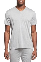 Daniel Buchler Silk And Cotton V Neck T Shirt Gray