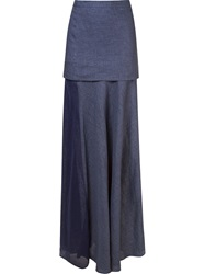 Giuliana Romanno Panel Layered Long Skirt Blue