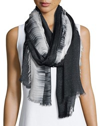 Neiman Marcus Sparkly Ombre Fringe Scarf Black White