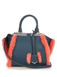 Fendi 3Jours Mini Mink Fur Trim Leather Tote Navy Multi