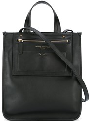 Anthony Vaccarello Gold Tone Detailed Shopping Bag Black