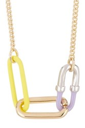 Marc By Marc Jacobs Bubble Chain Link Pendant Necklace Yellow
