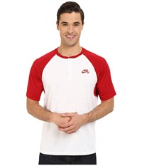 Nike Sb Dri Fit Henley Gym Red Birch Heather Gym Red Men's Short Sleeve Pullover White