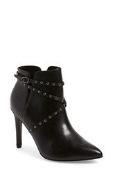 Women's Topshop 'Humour' Studded Pointy Toe Bootie Black Leather