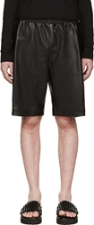 99 Is Black Leather Basket Ball Shorts