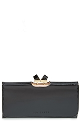 Ted Baker 'Crystal Frame' Patent Leather Matinee Wallet Black